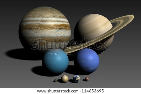 The planets of the solar system, rendered using the best available NASA imagery. The relative sizes are correct. Elements of this image furnished by NASA.