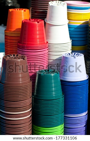 The Plastic color pot stack #3.