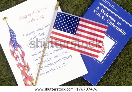 The Pledge of Allegiance with American Flag, Los Angeles, California