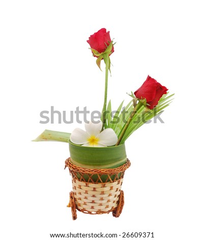 the Plumeria and Rose Vase - stock photo