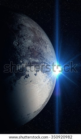 The Pluto sunrise shot from space showing all they beauty. Extremely detailed image Elements of this image furnished by NASA
