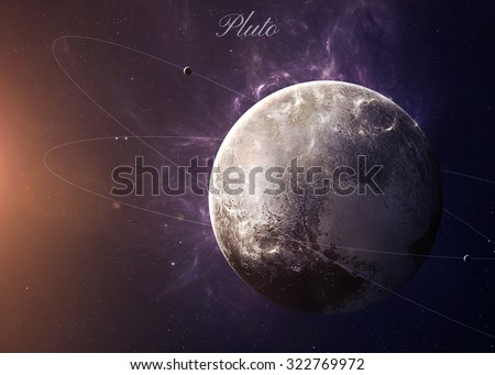 The Pluto with moons shot from space showing all the beauty. Extremely detailed image, including elements furnished by NASA.  - stock photo