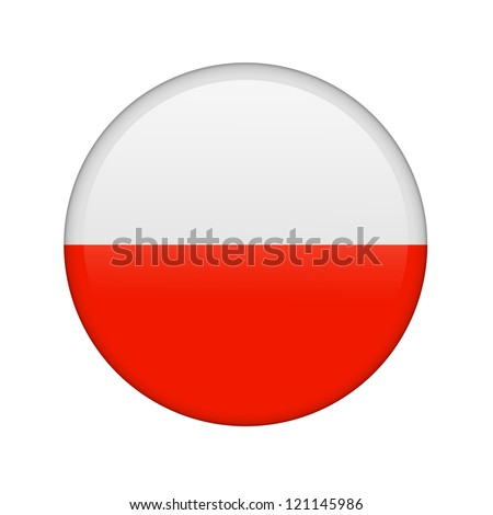 The Polish flag in the form of a glossy icon. - stock photo