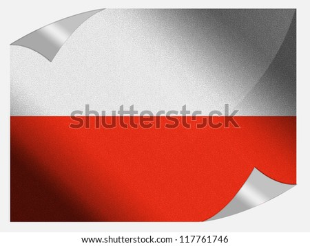 The Polish flag painted on page sheet with folded corners - stock photo