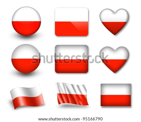 The Polish flag - set of icons and flags. glossy and matte on a white background. - stock photo