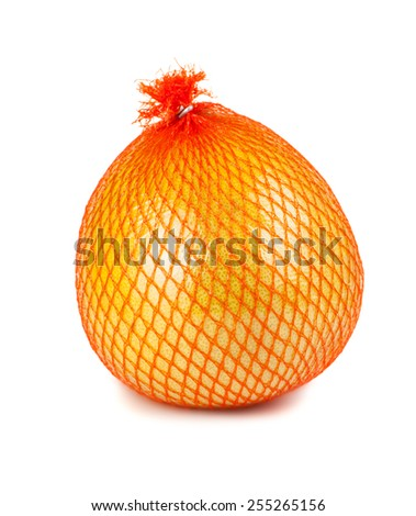The pomelo fruit wrapped in plastic reticle isolated on white background - stock photo