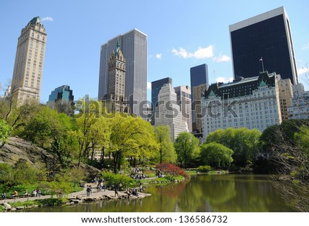 The Pond at Central Park, New York City - stock photo