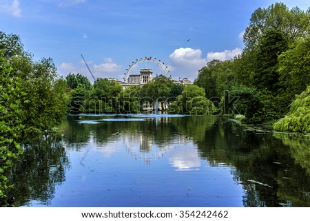 The pond in London Park. London, UK. - stock photo