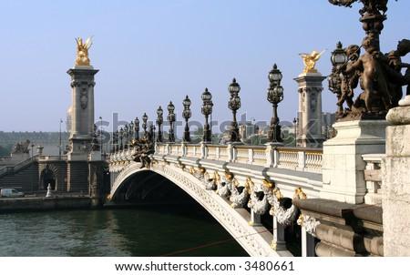 The Pont de la Concorde across the Seine near the Place de la Concorde in Paris - stock photo