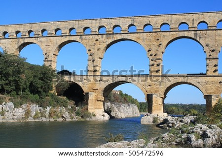 The Pont du Gard, an ancient Roman aqueduct that crosses the Gardon River in southern France