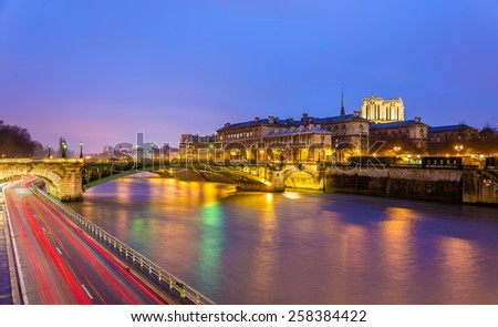 The Pont Notre-Dame and the Hotel-Dieu of Paris - France - stock photo