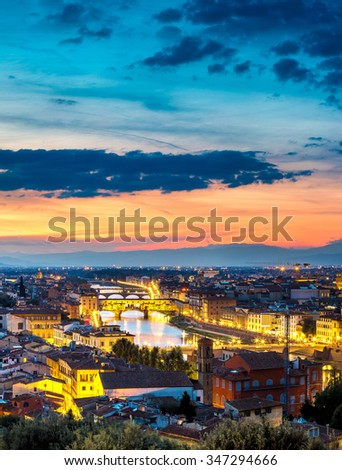 The Ponte Vecchio at sunset in Florence, Italy
