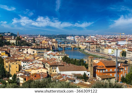 The Ponte Vecchio in a beautiful day in Florence, Italy - stock photo
