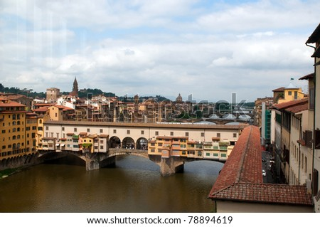 "The Ponte Vecchio (""Old Bridge"") is a Medieval bridge over the Arno River in Florence, Tuscany, Italy."