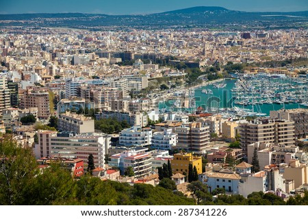 the port and residential houses of Palma de Mallorca, Spain - stock photo