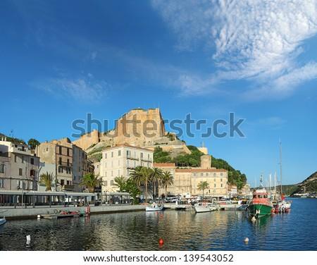 The Port de Plaisance of Bonifacio, Corsica, France - stock photo