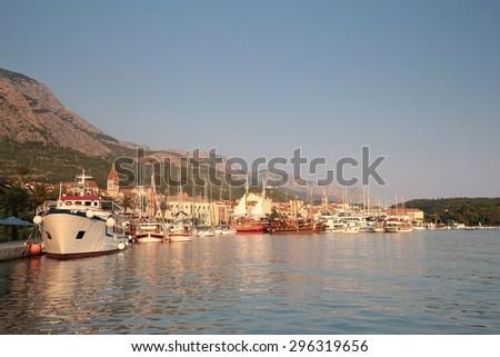 The port of Makarska in Croatia. - stock photo