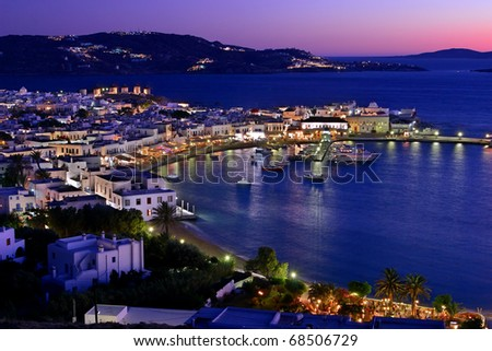 "The port of Myconos in the ""blue"" hour - stock photo"
