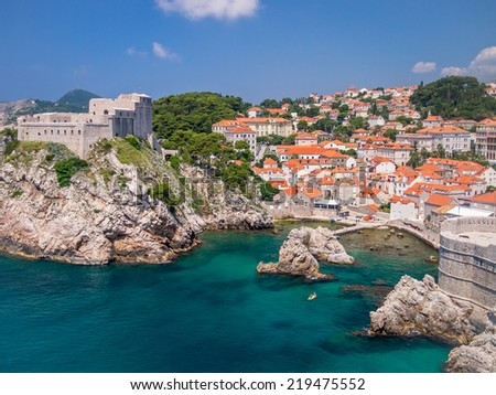 The port of old Dubrovnik in Croatia. - stock photo