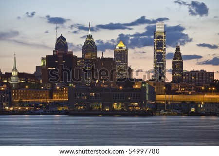The port of Philadelphia on the Delaware River - stock photo
