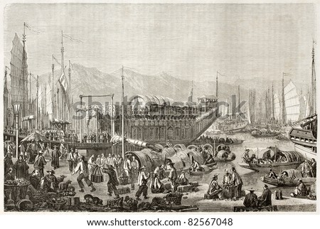 The port of Shanghai, old illustration. Created by Grandsire after Trevise, published on Le Tour du Monde, Paris, 1860 - stock photo