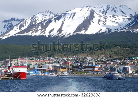The port of Ushuaia, Patagonia, Argentina - stock photo