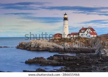 The Portland Head Light At Sunset, Portland, Maine, USA