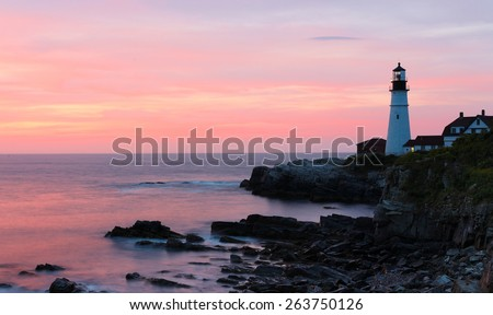 The Portland Head Light Under Sunrise skies, Portland, Maine, USA