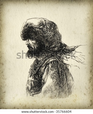 The portrait of a man. Made by pen on paper. - stock photo