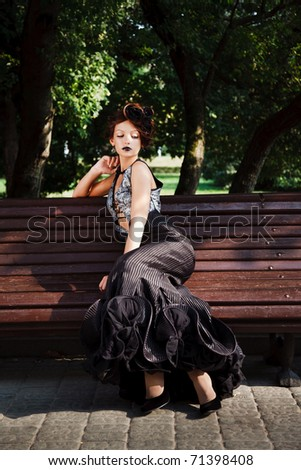 The Portrait of a white girl in a vintage dress - stock photo