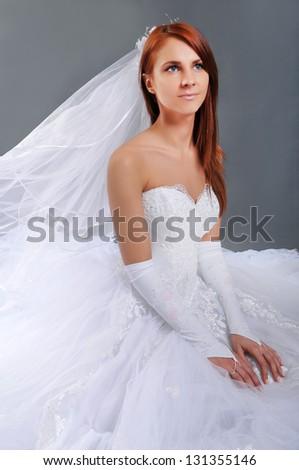The portrait of cute bride - stock photo