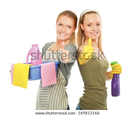 The portrait of girls showing ok - concept Cleaning, isolated on white background - stock photo