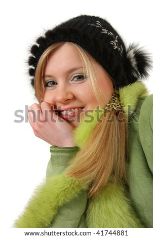 the portrait of the girl on white background - stock photo