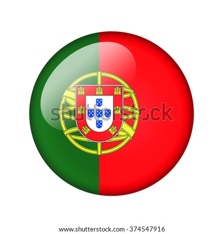 The Portuguese flag. Round glossy icon. Isolated on white background. - stock photo