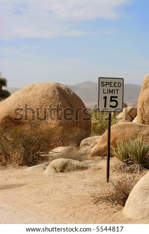 The posted speed limit in a campsite in Joshua Tree National Monument. - stock photo