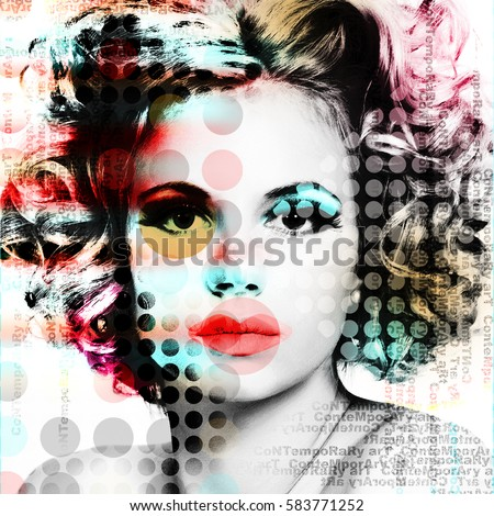 The poster with a portrait of a beautiful girl in the style of contemporary art.