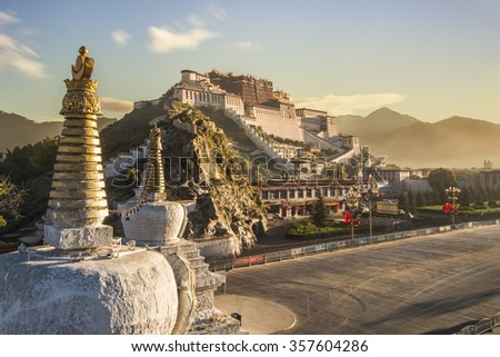 The potala palace,in Tibet of China during sunrise - stock photo
