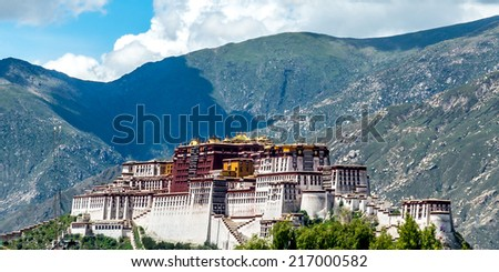 the Potala Palace under the morning sunshine in Lhasa, Tibet.