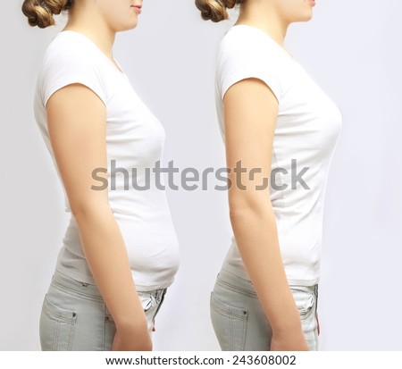 The power of posture.Poor posture and good posture - stock photo