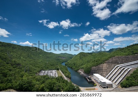The power station at the Srinakarin Dam in Thailand.  - stock photo
