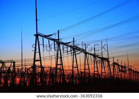 The power supply facilities of contour in the evening - stock photo