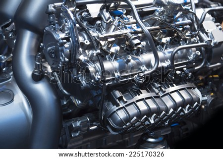 The powerful engine of a modern sport car - stock photo