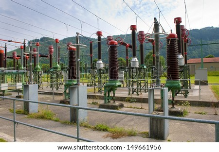 The powerstation of Jochenstein on the banks of the Donau river. - stock photo
