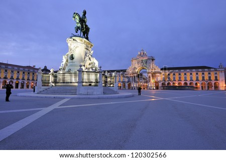 The Praca do Comercio or Commerce Square is located in the city of Lisbon, Portugal. Situated near the Tagus river, the square is still commonly known as Terreiro do Paco or Palace Square. - stock photo