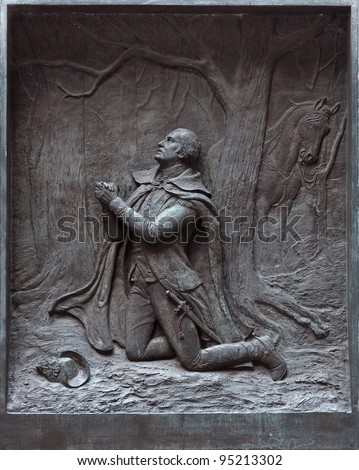 The prayer at Valley Forge at the Federal Hall in New York.