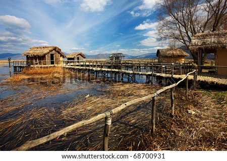 The prehistoric lakeside settlement of Dispilio - stock photo