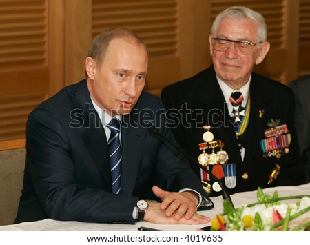 The president of Russia Vladimir Putin at a meeting with veterans Great Patriotic War - stock photo