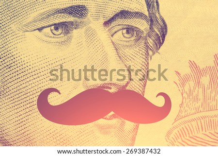 The president's face with a dollar bill with hipster mustache - instagram style - stock photo