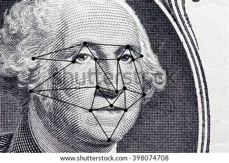 The president's face with a dollar bill with lines from a facial recognition software