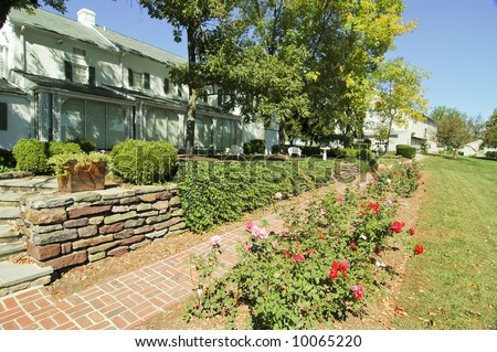 the presidents house and gardens at Eisenhower National Historic Site in Gettysburg, PA - stock photo